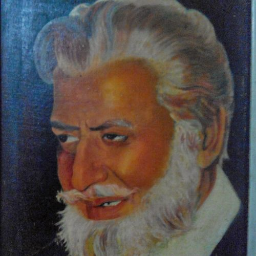 portrait of bollywood film actor pran, 14 x 18 inch, shrishail murkhandi,paintings,portrait paintings,paintings for living room,canvas board,oil,14x18inch,GAL038118832