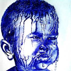 baby under water, 9 x 9 inch, janakiramayya bethapudi,baby paintings,paper,ball point pen,9x9inch,GAL038168839