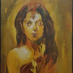 indian woman, 16 x 24 inch, aniruddha guin,paintings,figurative paintings,paintings for living room,thick paper,watercolor,16x24inch,GAL038238842
