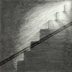 black & white staircase lighted, 12 x 17 inch, renuka thakarda,paintings for dining room,modern drawings,thick paper,charcoal,12x17inch,GAL038208843