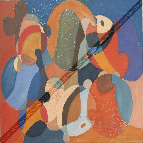 fishes 2d colorful, 12 x 17 inch, renuka thakarda,paintings,abstract paintings,paintings for dining room,thick paper,poster color,12x17inch,GAL038208845