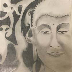 gautam buddha, 9 x 13 inch, rimpi nilaksha,buddha drawings,paintings for living room,drawing paper,pencil color,9x13inch,GAL038248848