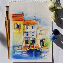 life in waters, 8 x 10 inch, sanjeev kumar g h,paintings,cityscape paintings,paintings for living room,handmade paper,watercolor,8x10inch,GAL038298851