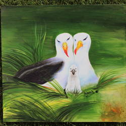 family, 10 x 10 inch, sanjeev kumar g h,paintings,wildlife paintings,paintings for bedroom,ivory sheet,acrylic color,10x10inch,GAL038298853