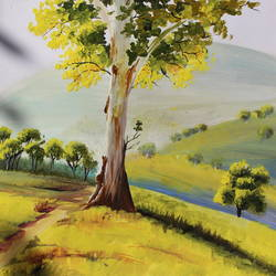 sunlit tree, 10 x 10 inch, sanjeev kumar g h,paintings,landscape paintings,paintings for living room,ivory sheet,acrylic color,10x10inch,GAL038298858