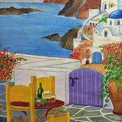 santorini, the white haven, 15 x 20 inch, aayush baid,paintings,landscape paintings,paintings for dining room,thick paper,natural color,15x20inch,GAL038388859