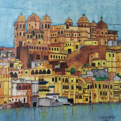 udaipur, the walled wonder, 11 x 14 inch, aayush baid,paintings,cityscape paintings,paintings for living room,thick paper,natural color,11x14inch,GAL038388860