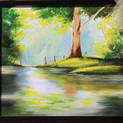 sunlit tree, 10 x 10 inch, sanjeev kumar g h,paintings,landscape paintings,paintings for living room,ivory sheet,acrylic color,10x10inch,GAL038298869