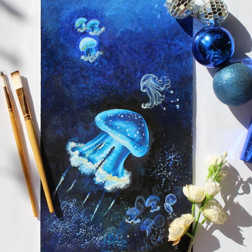 jelly fishes, 8 x 10 inch, sanjeev kumar g h,paintings,nature paintings,paintings for bedroom,ivory sheet,acrylic color,8x10inch,GAL038298870Nature,environment,Beauty,scenery,greenery