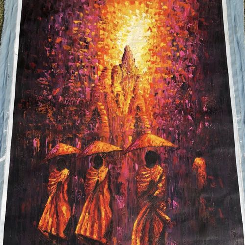 monks at sunset , 32 x 47 inch, ash singh,paintings for living room,figurative paintings,modern art paintings,canvas,oil paint,32x47inch,GAL038268873