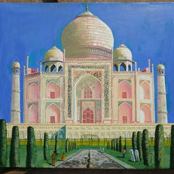the taaj mahal, 18 x 24 inch, vimal chand,paintings,abstract paintings,paintings for living room,canvas board,oil,18x24inch,GAL038618879