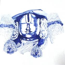lord venkateswara, 18 x 9 inch, janakiramayya bethapudi,figurative paintings,paper,ball point pen,18x9inch,GAL038168884