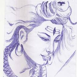 lord shiva, 18 x 9 inch, janakiramayya bethapudi,lord shiva paintings,paper,ball point pen,18x9inch,GAL038168885