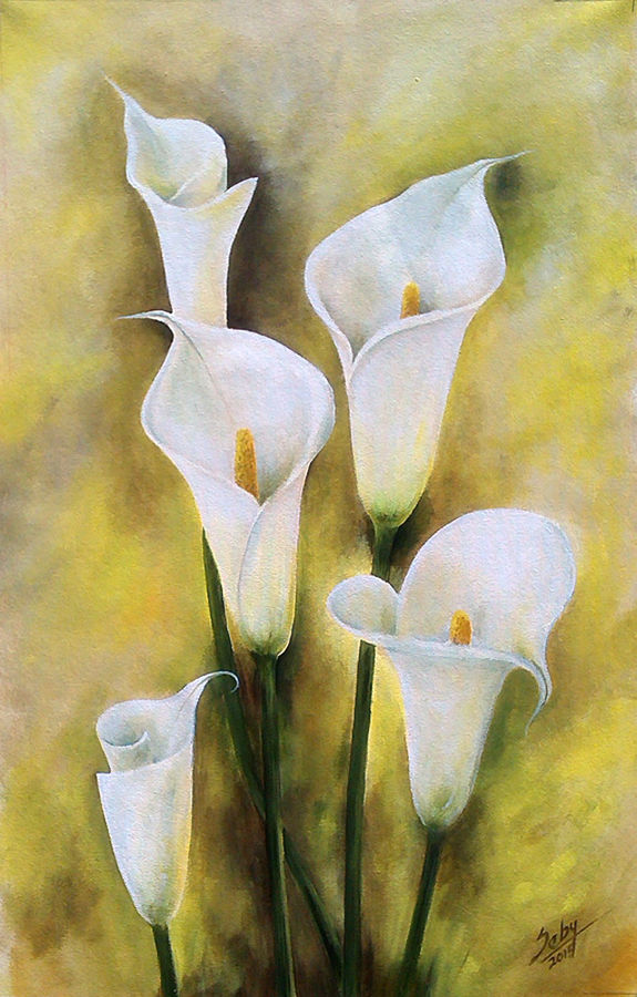 white angels, 20 x 31 inch, seby augustine,flower paintings,paintings for living room,canvas,acrylic color,20x31inch,GAL0150889