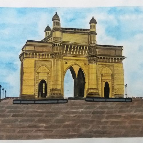 gateway of india, 10 x 7 inch, pratik bawankule,paintings,cityscape paintings,paintings for living room,paper,watercolor,10x7inch,GAL038718890