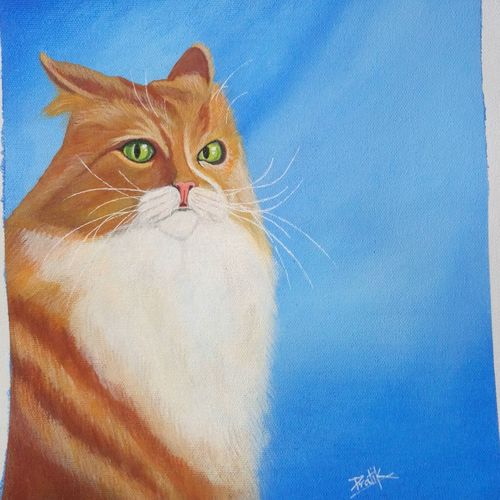 smoothie cat, 10 x 12 inch, pratik bawankule,paintings,wildlife paintings,paintings for living room,canvas,acrylic color,10x12inch,GAL038718891