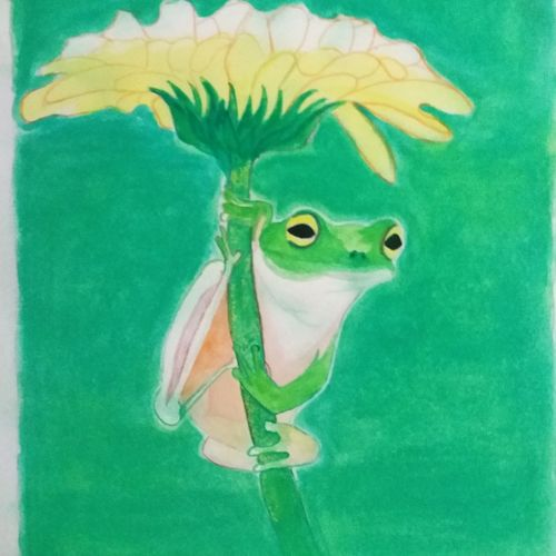 frog rainy day, 7 x 10 inch, pratik bawankule,paintings,nature paintings,paper,watercolor,7x10inch,GAL038718892Nature,environment,Beauty,scenery,greenery