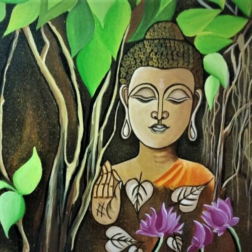 lord buddha, 22 x 26 inch, radhika patel,paintings,buddha paintings,paintings for living room,canvas,acrylic color,22x26inch,religious,peace,meditation,meditating,gautam,goutam,buddha,leafs tree,lotus,face,mudra,giving blessing,GAL038748895