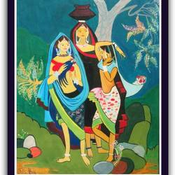 indian folk art, 16 x 20 inch, radhika patel,paintings,figurative paintings,paintings for dining room,thick paper,watercolor,16x20inch,GAL038748897