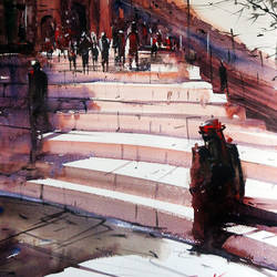 fatehpur sikri1, 21 x 15 inch, sankar thakur,landscape paintings,paintings for living room,fabriano sheet,watercolor,21x15inch,GAL0789
