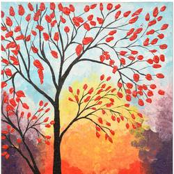 stand alone tree, 14 x 16 inch, menaka saravanan,paintings,nature paintings,paintings for living room,canvas,acrylic color,14x16inch,GAL038558904Nature,environment,Beauty,scenery,greenery,alone,tree,red,autumn