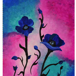 blue beauty, 11 x 16 inch, menaka saravanan,paintings,flower paintings,paintings for living room,thick paper,acrylic color,11x16inch,GAL038558906