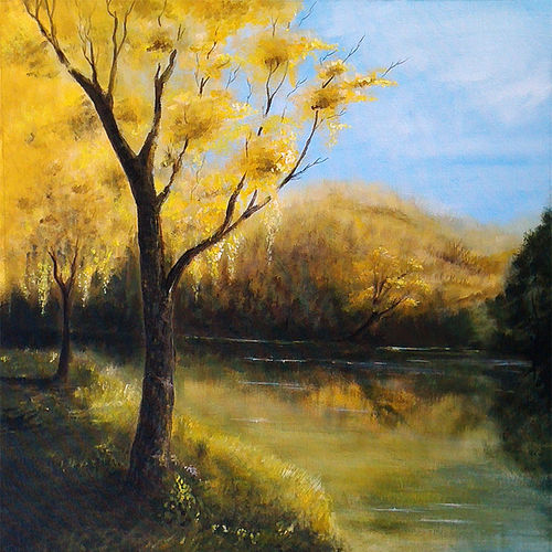 the yellow forest, 24 x 31 inch, seby augustine,flower paintings,paintings for living room,canvas,acrylic color,24x31inch,GAL0150891