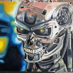 the terminator t-800, 18 x 12 inch, vimal chand,paintings,realism paintings,paintings for living room,canvas,oil,18x12inch,GAL038618928