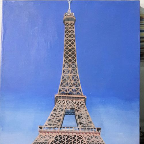 eiffel tower, 18 x 12 inch, vimal chand,paintings,realistic paintings,paintings for dining room,canvas,oil,18x12inch,GAL038618929