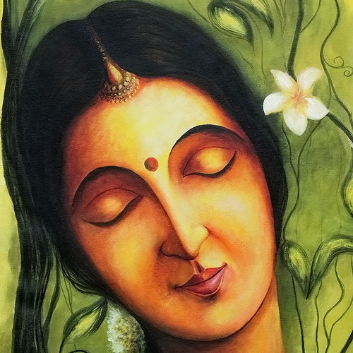 shakunthala, 30 x 18 inch, seby augustine,portrait paintings,paintings for living room,canvas,acrylic color,30x18inch,GAL0150893