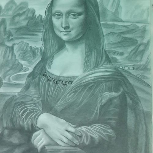 monalisa, 16 x 12 inch, vimal chand,drawings,portrait drawings,paintings for dining room,drawing paper,graphite pencil,16x12inch,GAL038618931