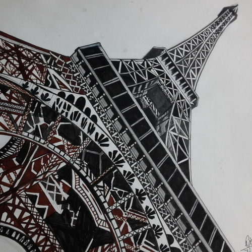 eiffel tower, 10 x 8 inch, vimal chand,drawings,fine art drawings,paintings for living room,drawing paper,charcoal,10x8inch,GAL038618932