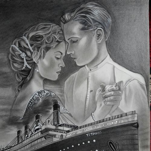 titanic jack and rose, 16 x 12 inch, vimal chand,drawings,documentary drawings,paintings for dining room,drawing paper,graphite pencil,16x12inch,GAL038618933