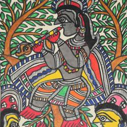 art052-gopi-worshipping-shri-krishna, 7 x 11 inch, puja keshri,paintings for living room,religious paintings,radha krishna paintings,thick paper,oil,7x11inch,GAL038988946,radha,krishna,lordkrishna,lordradha,flute,music, Madhubani,
