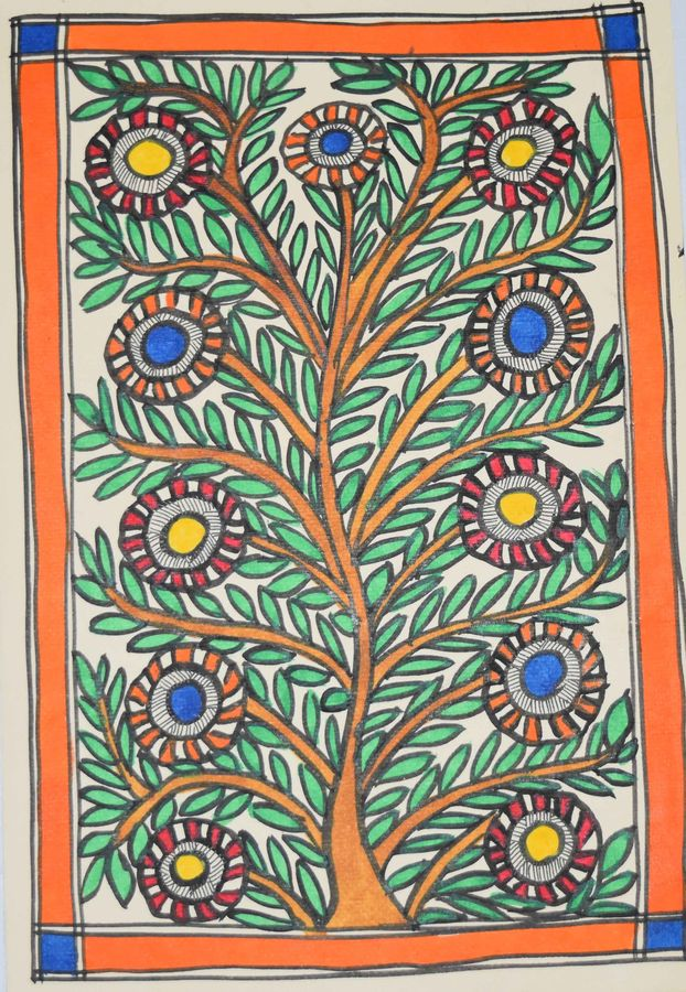 madhubani -colourful-flowers-enhancing-the-beauty-of-a-tree, 7 x 11 inch, puja keshri,flower paintings,paintings for living room,madhubani paintings,thick paper,oil,7x11inch,GAL038988949