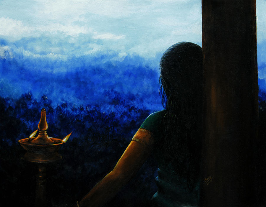 the evening prayer, 30 x 20 inch, seby augustine,figurative paintings,paintings for living room,canvas,acrylic color,30x20inch,GAL0150895