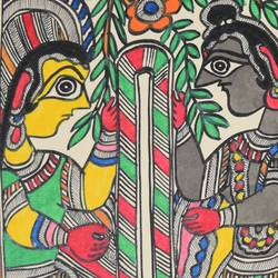 madhubani  - jaimaal-ceremony-of-shri-ram-and-sitaji, 7 x 11 inch, puja keshri,religious paintings,paintings for living room,madhubani paintings,thick paper,oil,7x11inch,GAL038988950
