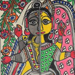 madhubani -beautiful--of-shivji-and-parvatiji, 7 x 11 inch, puja keshri,religious paintings,paintings for living room,madhubani paintings,thick paper,oil,7x11inch,GAL038988951