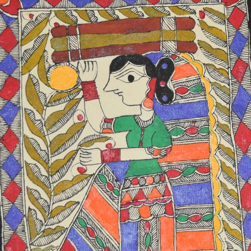 madhubani painting - village women, 7 x 11 inch, puja keshri,folk art paintings,paintings for living room,madhubani paintings,thick paper,oil,7x11inch,GAL038988956