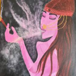the ganja princess, 12 x 15 inch, vinita singh,paintings,figurative paintings,paintings for living room,canvas,acrylic color,12x15inch,GAL039108957
