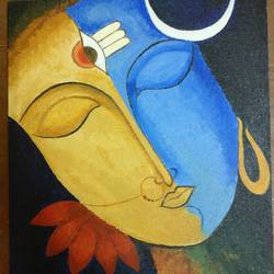 ardhanari nateshwar- sign of equality, 10 x 12 inch, suchita gabhane,paintings,paintings for living room,figurative paintings,canvas,acrylic color,10x12inch,GAL038518962