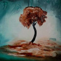 brown tree, 15 x 11 inch, shivani kamblekar,paintings,nature paintings,paintings for living room,canson paper,oil,15x11inch,GAL038078967Nature,environment,Beauty,scenery,greenery