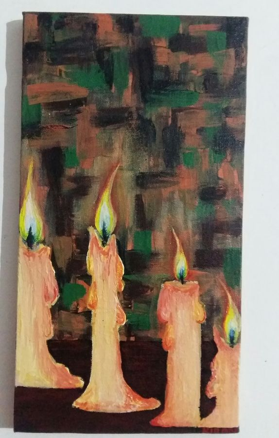 candles, 8 x 15 inch, kiran singh,paintings,abstract paintings,paintings for living room,canvas,acrylic color,8x15inch,GAL022048971