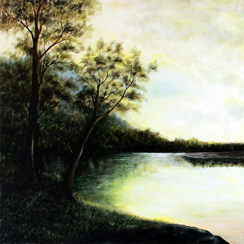 after the summer rains, 45 x 30 inch, seby augustine,nature paintings,paintings for living room,canvas,acrylic color,45x30inch,GAL0150899Nature,environment,Beauty,scenery,greenery