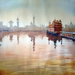 golden temple, 21 x 15 inch, sankar thakur,landscape paintings,paintings for living room,fabriano sheet,watercolor,21x15inch,GAL0790