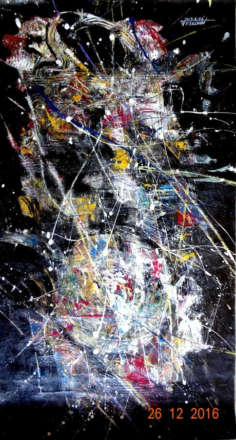 rhythm abstract, 36 x 18 inch, kirtiraj mhatre,abstract paintings,paintings for living room,vertical,thick paper,acrylic color,36x18inch,GAL016819000