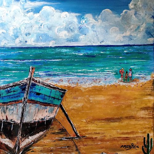 the resting boat and the beach holidays, 29 x 33 inch, neeraj raina,paintings,realistic paintings,paintings for living room,canvas,acrylic color,29x33inch,GAL02739001
