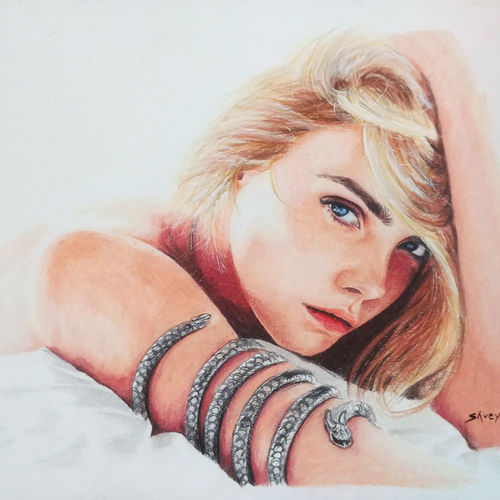 cara delevingne, 12 x 9 inch, shreyas pailkar,drawings,realism drawings,paintings for bedroom,drawing paper,pencil color,12x9inch,GAL026029002