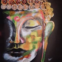 buddha , 22 x 22 inch, saksham khanna,paintings,buddha paintings,paintings for living room,thick paper,acrylic color,22x22inch,religious,peace,meditation,meditating,gautam,goutam,buddha,colourful,side face,GAL039309009