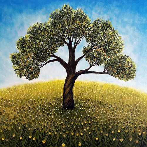tree and flowers, 28 x 22 inch, seby augustine,flower paintings,paintings for living room,love paintings,canvas,acrylic color,28x22inch,GAL0150901